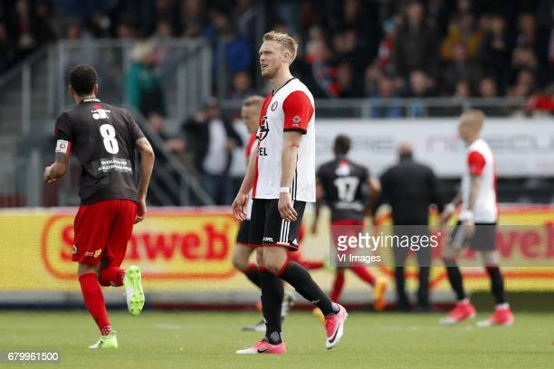 Ryan Koolwijk of Excelsior Nicolai Jorgensen of Feyenoord Fredy Ribeiro of Excelsior Rick Karsdorp of Feyenoordduring the Dutch Eredivisie match...