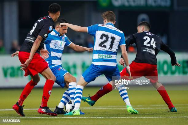 Ryan Koolwijk of Excelsior Ouasim Bouy of PEC Zwolle Django Warmerdam of PEC Zwolle Hicham Faik of Excelsiorduring the Dutch Eredivisie match between...