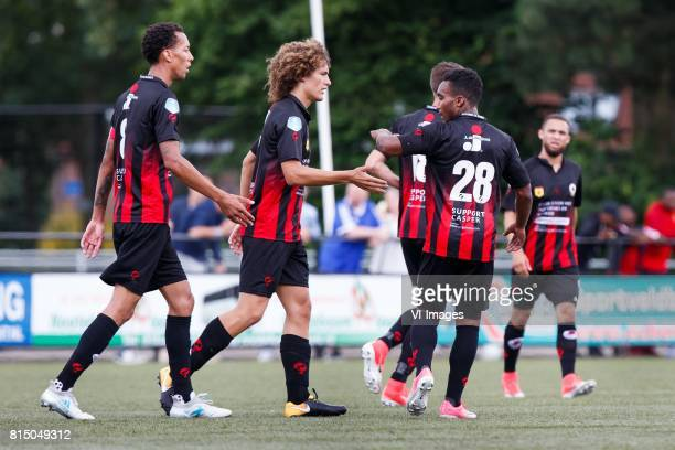 Ryan Koolwijk of Excelsior Wout Faes of Excelsior Kevin Vermeulen of Excelsior Lorenzo Burnet of Excelsior during the friendly match between...
