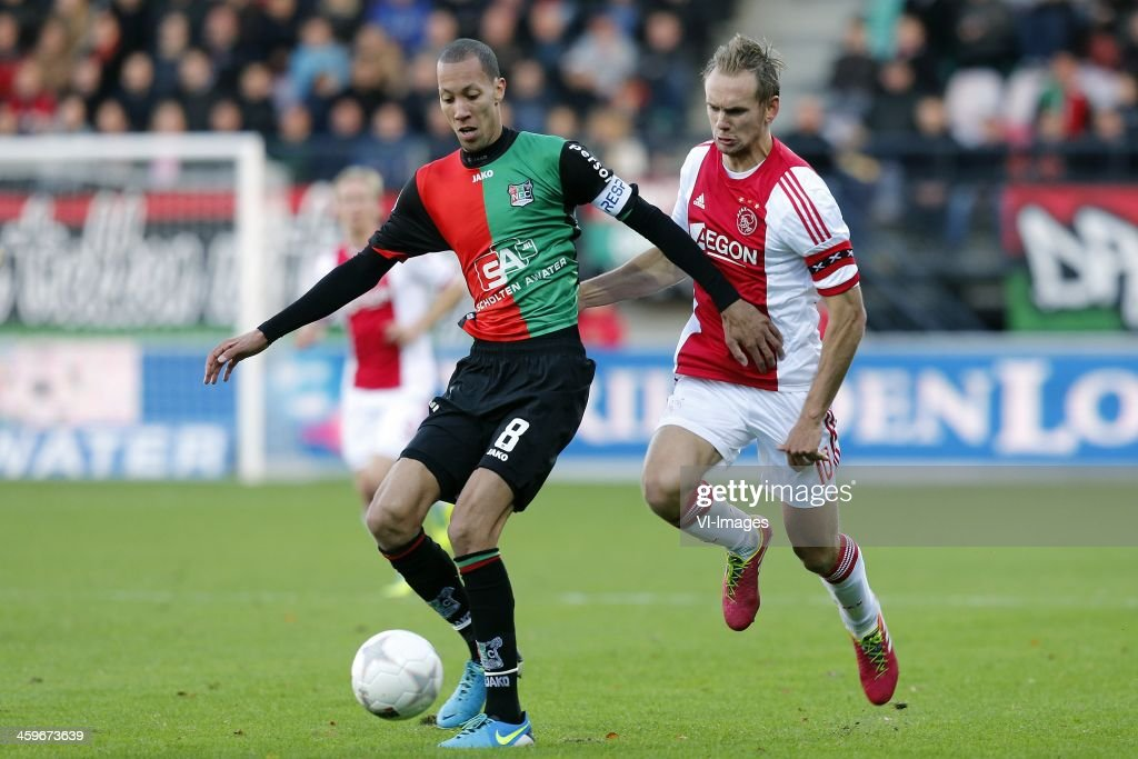 Ryan Koolwijk of NEC Siem de Jong of Ajax during the Dutch Eredivisie match between NEC Nijmegen and Ajax on November 11 2013 at the Goffert stadium...