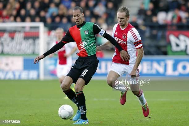 Ryan Koolwijk of NEC Siem de Jong of Ajax during the Dutch Eredivisie match between NEC Nijmegen and Ajax on November 11 2013 at the Goffert stadium...