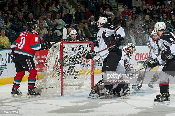 Ryan Kubic of the Vancouver Giants makes a first period save on a shot by Nick Merkley of the Kelowna Rockets on November 18 2016 at Prospera Place...