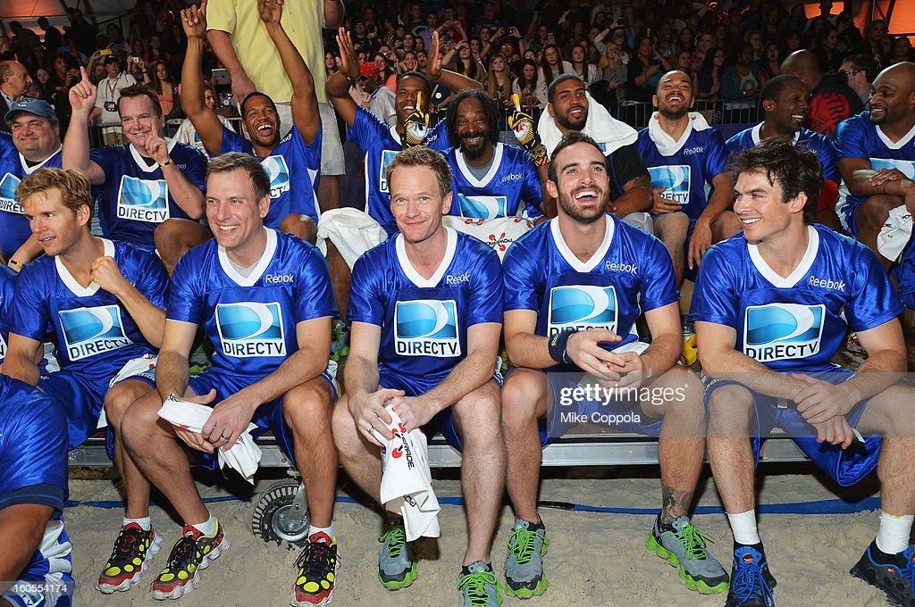 Ryan Kwanten, Mike Bettes, Neil Patrick Harris, Joshua Sasse and Ian Somerhalder attend DIRECTV'S Seventh Annual Celebrity Beach Bowl at DTV SuperFan Stadium at Mardi Gras World on February 2, 2013 in New Orleans, Louisiana.