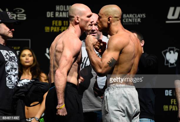 Ryan LaFlare and Roan Carneiro of Brazil face off during the UFC 208 weighin inside Kings Theater on February 10 2017 in Brooklyn New York