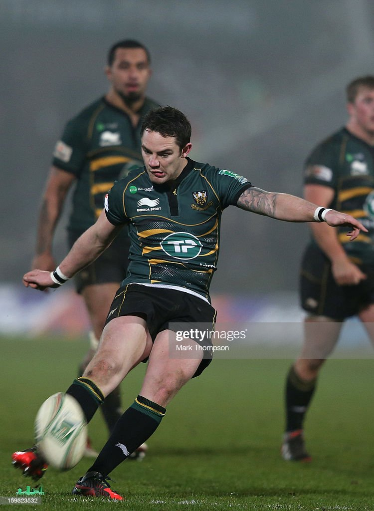 <a gi-track='captionPersonalityLinkClicked' href=/galleries/search?phrase=Ryan+Lamb&family=editorial&specificpeople=539556 ng-click='$event.stopPropagation()'>Ryan Lamb</a> of Northampton Saints in action during the Heineken Cup match between Northampton Saints and Castres Olympique at Franklin's Gardens on January 11, 2013 in Northampton, England.