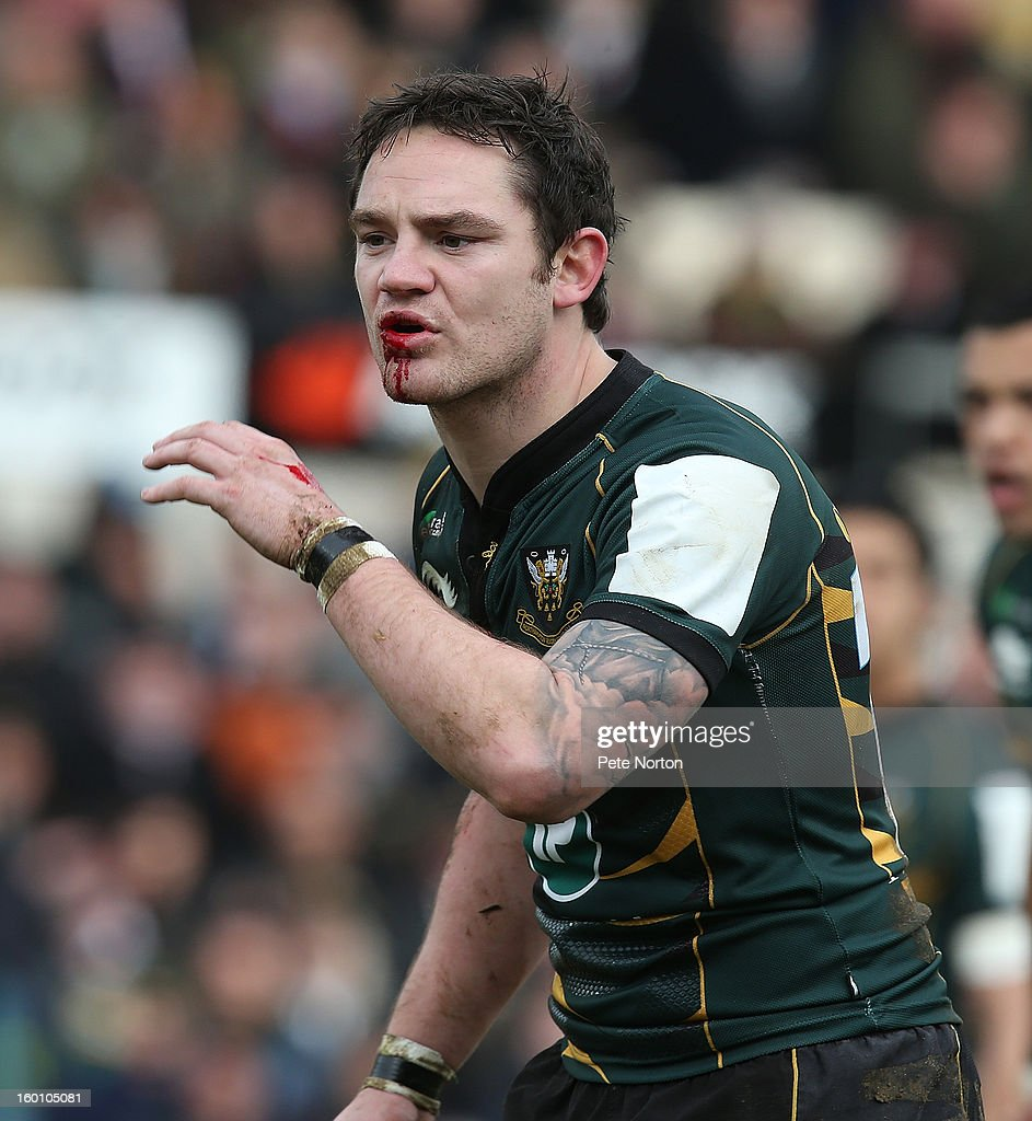 <a gi-track='captionPersonalityLinkClicked' href=/galleries/search?phrase=Ryan+Lamb&family=editorial&specificpeople=539556 ng-click='$event.stopPropagation()'>Ryan Lamb</a> of Northampton Saints in action during the LV=Cup match between Northampton Saints and Gloucester at Franklin's Gardens on January 26, 2013 in Northampton, England.