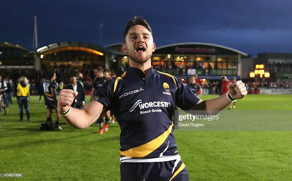Ryan Lamb of Worcester who converted the final try to win promotion celebrates during the Greene King IPA Championship Final 2nd leg match between...