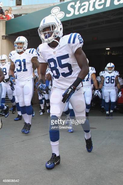 Ryan Lankford of the Indianapolis Colts takes the field before the start of the game against the Cincinnati Bengals at Paul Brown Stadium on August...