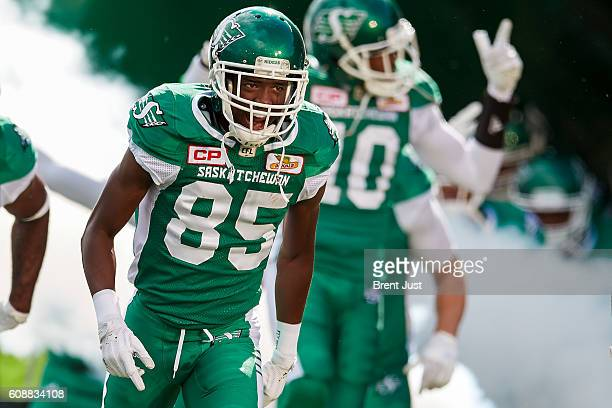 Ryan Lankford of the Saskatchewan Roughriders takes the field for the game between the Edmonton Eskimos and Saskatchewan Roughriders at Mosaic...