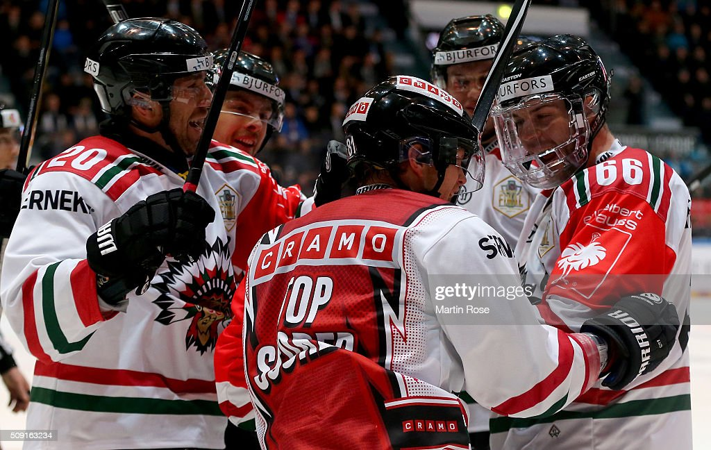 <a gi-track='captionPersonalityLinkClicked' href=/galleries/search?phrase=Ryan+Lasch&family=editorial&specificpeople=4820639 ng-click='$event.stopPropagation()'>Ryan Lasch</a> of Gothenburg celebrate with is team mates after he scores the opening goal during the Champions Hockey League final game between Karpat Oulu and Frolunda Gothenburg at Oulun Energia-Areena on February 9, 2016 in Oulu, Finland.