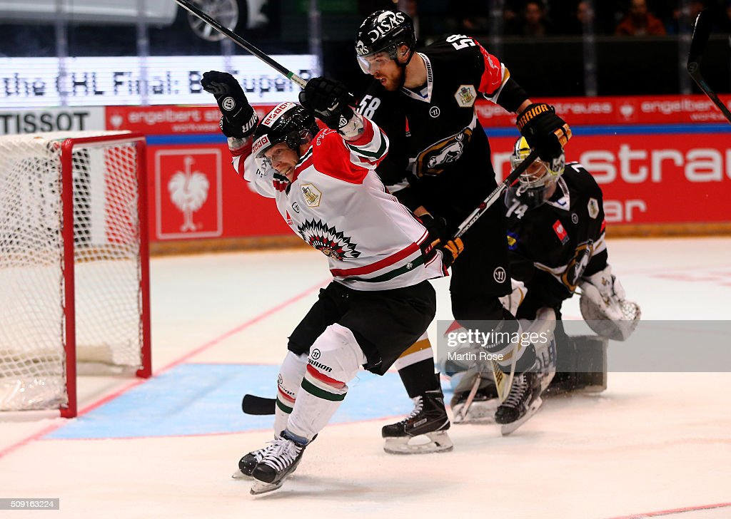 <a gi-track='captionPersonalityLinkClicked' href=/galleries/search?phrase=Ryan+Lasch&family=editorial&specificpeople=4820639 ng-click='$event.stopPropagation()'>Ryan Lasch</a> of Gothenburg celebrates after he scores the opening goal during the Champions Hockey League final game between Karpat Oulu and Frolunda Gothenburg at Oulun Energia-Areena on February 9, 2016 in Oulu, Finland.