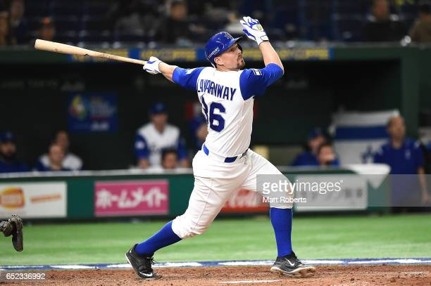 Ryan Lavarnway of Israel lines out to right fielder in the sixth inning during the World Baseball Classic Pool E Game One between Cuba and Israel at...