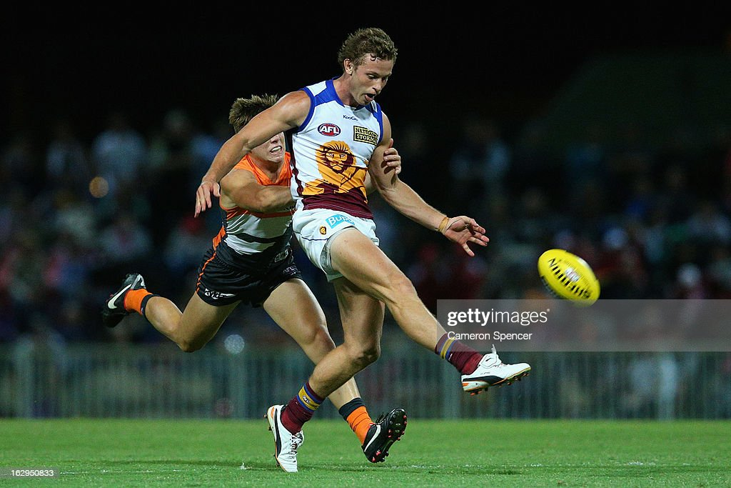 Ryan Lester of the Lions kicks during the round two AFL NAB Cup match between the Greater Western Sydney Giants and the Brisbane Lions at the Robertson Oval in Wagga Wagga, Australia.