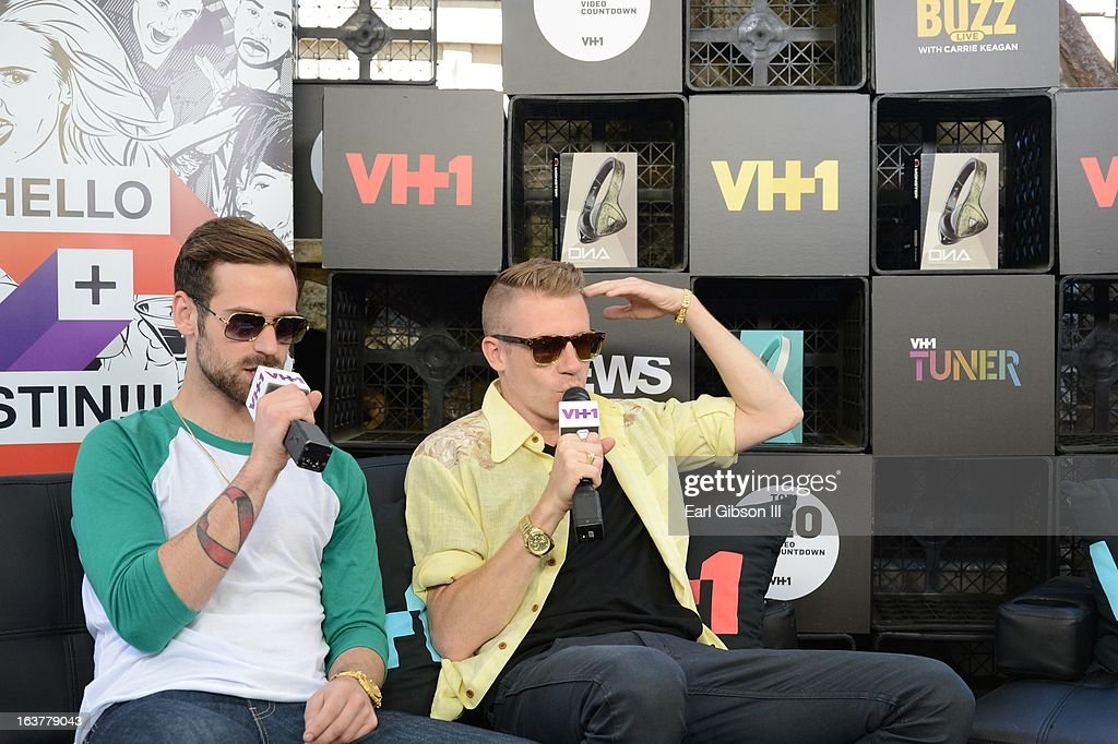 Ryan Lewis and Macklemore are interviewed at the VH1 Cafe at Moonshine Bar at on March 15, 2013 in Austin, Texas.