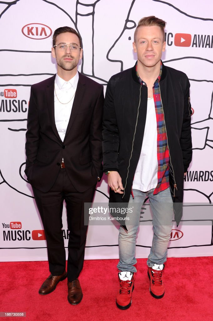 Ryan Lewis (L) and <a gi-track='captionPersonalityLinkClicked' href=/galleries/search?phrase=Macklemore&family=editorial&specificpeople=7639427 ng-click='$event.stopPropagation()'>Macklemore</a> attend the YouTube Music Awards 2013 on November 3, 2013 in New York City.