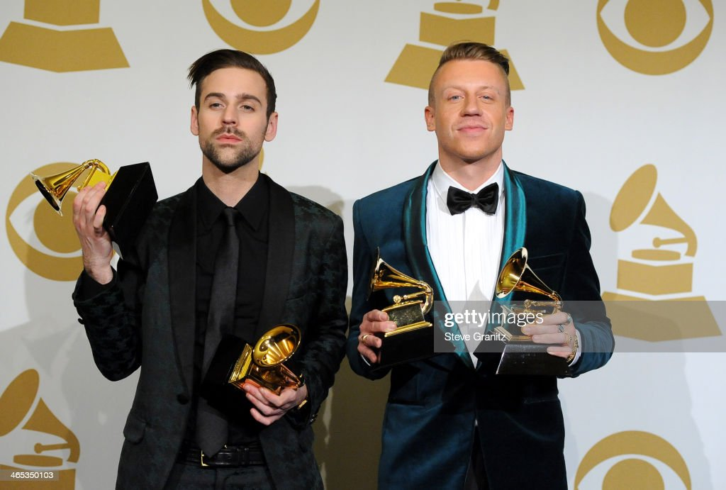 Ryan Lewis and <a gi-track='captionPersonalityLinkClicked' href=/galleries/search?phrase=Macklemore&family=editorial&specificpeople=7639427 ng-click='$event.stopPropagation()'>Macklemore</a> pose in the press room during th 56th GRAMMY Awards at Staples Center on January 26, 2014 in Los Angeles, California.