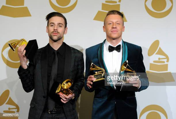 Ryan Lewis and Macklemore pose in the press room during th 56th GRAMMY Awards at Staples Center on January 26 2014 in Los Angeles California