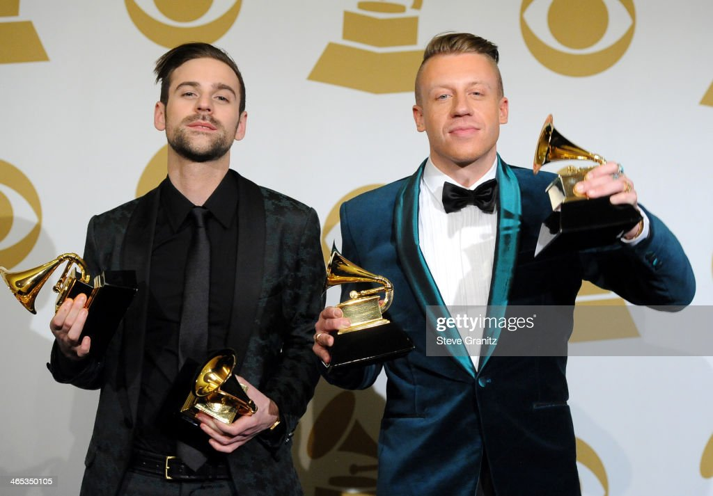 Ryan Lewis and Macklemore pose in the press room during th 56th GRAMMY Awards at Staples Center on January 26, 2014 in Los Angeles, California.