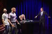 DJ Ryan Lewis Rapper Macklemore Actress Elle Fanning and Comedian/host Jimmy Fallon play a game on'The Tonight Show Starring Jimmy Fallon' at...