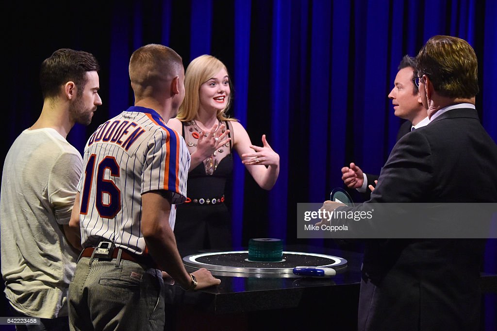 DJ Ryan Lewis Rapper Macklemore Actress Elle Fanning Comedian/host Jimmy Fallon and Steve Higgins play a game on'The Tonight Show Starring Jimmy...