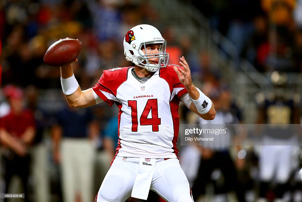 Ryan Lindley #14 of the Arizona Cardinals throws a pass in the fourth quarter against the St. Louis Rams during their game at Edward Jones Dome on December 11, 2014 in St Louis, Missouri.