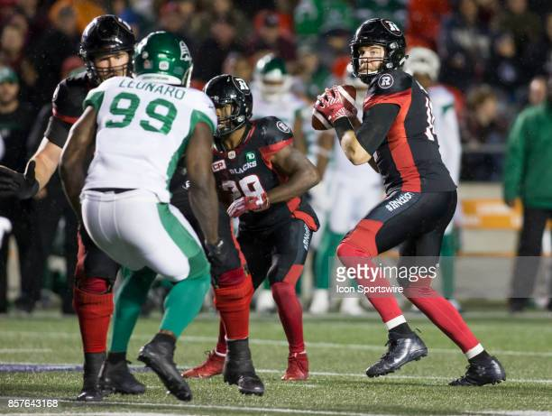 Ryan Lindley of the Ottawa Redblacks looks for a receiver against the Saskatchewan Roughriders The Saskatchewan Rough Riders defeated the Ottawa...