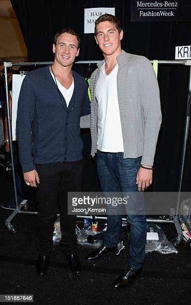 Ryan Lochte and Conor Dwyer pose backstage at the Milly By Michelle Smith Spring 2013 fashion show during MercedesBenz Fashion Week at The Stage...