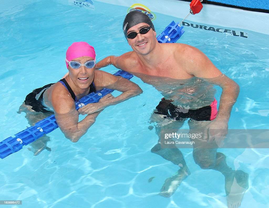Ryan Lochte and Diana Nyad attend Swim for Relief benefiting Hurricane Sandy recovery at Herald Square on October 8 2013 in New York City