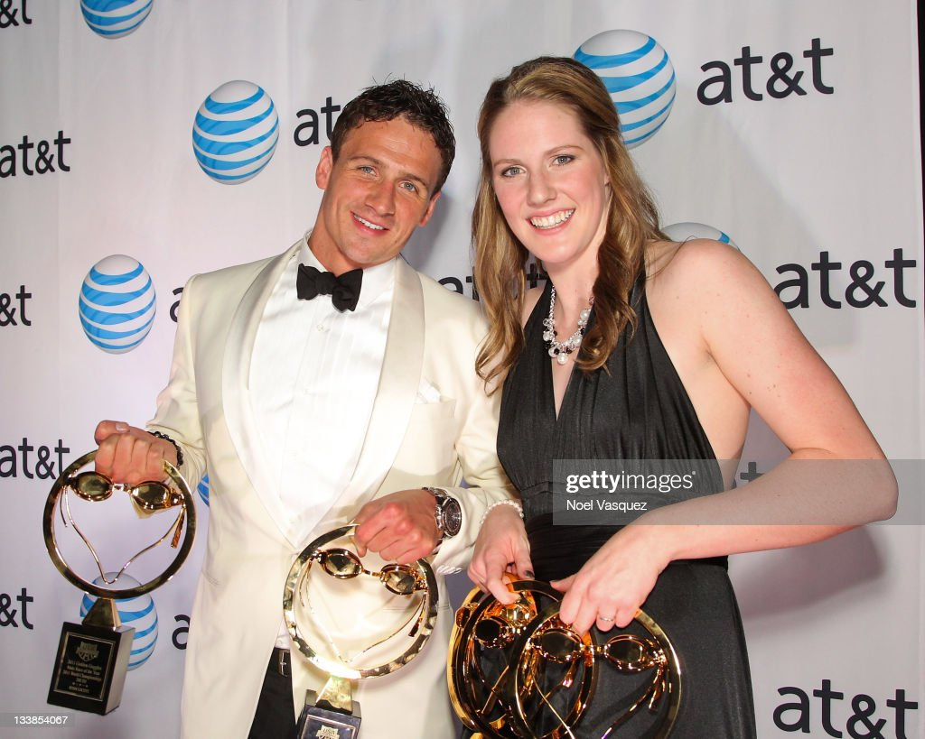<a gi-track='captionPersonalityLinkClicked' href=/galleries/search?phrase=Ryan+Lochte&family=editorial&specificpeople=182557 ng-click='$event.stopPropagation()'>Ryan Lochte</a> (L) and <a gi-track='captionPersonalityLinkClicked' href=/galleries/search?phrase=Missy+Franklin+-+Swimmer&family=editorial&specificpeople=6623958 ng-click='$event.stopPropagation()'>Missy Franklin</a> pose with their trophies at the 2011 Golden Goggles at JW Marriott Los Angeles at L.A. LIVE on November 20, 2011 in Los Angeles, California.
