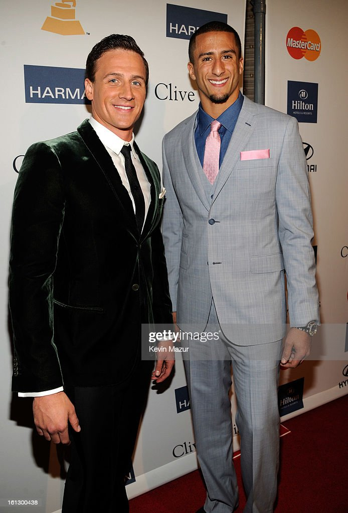 Ryan Lochte and San Francisco 49ers quarterback Colin Kaepernick arrive at the 55th Annual GRAMMY Awards Pre-GRAMMY Gala and Salute to Industry Icons honoring L.A. Reid held at The Beverly Hilton on February 9, 2013 in Los Angeles, California.