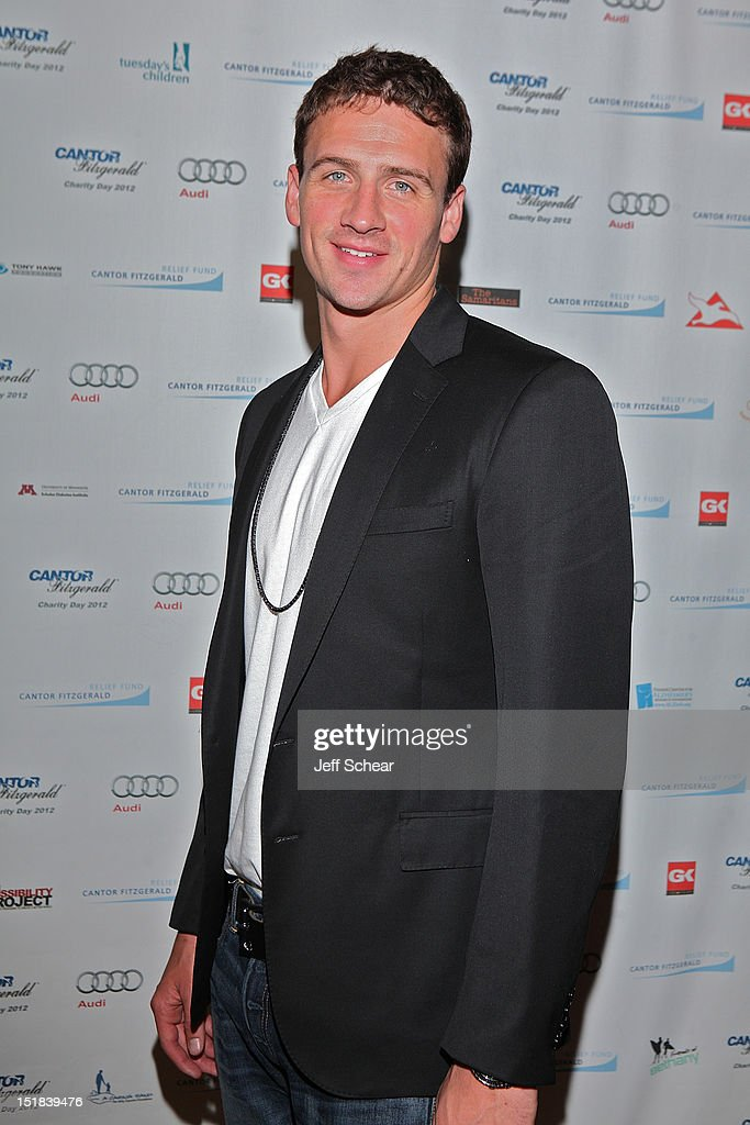 <a gi-track='captionPersonalityLinkClicked' href=/galleries/search?phrase=Ryan+Lochte&family=editorial&specificpeople=182557 ng-click='$event.stopPropagation()'>Ryan Lochte</a> attends Annual Charity Day Hosted By Cantor Fitzgerald And BGC Partners on September 11, 2012 in New York, United States.