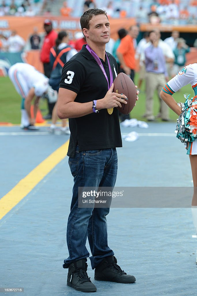 <a gi-track='captionPersonalityLinkClicked' href=/galleries/search?phrase=Ryan+Lochte&family=editorial&specificpeople=182557 ng-click='$event.stopPropagation()'>Ryan Lochte</a> attends Miami Dolphins VS NY jets game at Sunlife Stadium on September 23, 2012 in Miami, Florida.