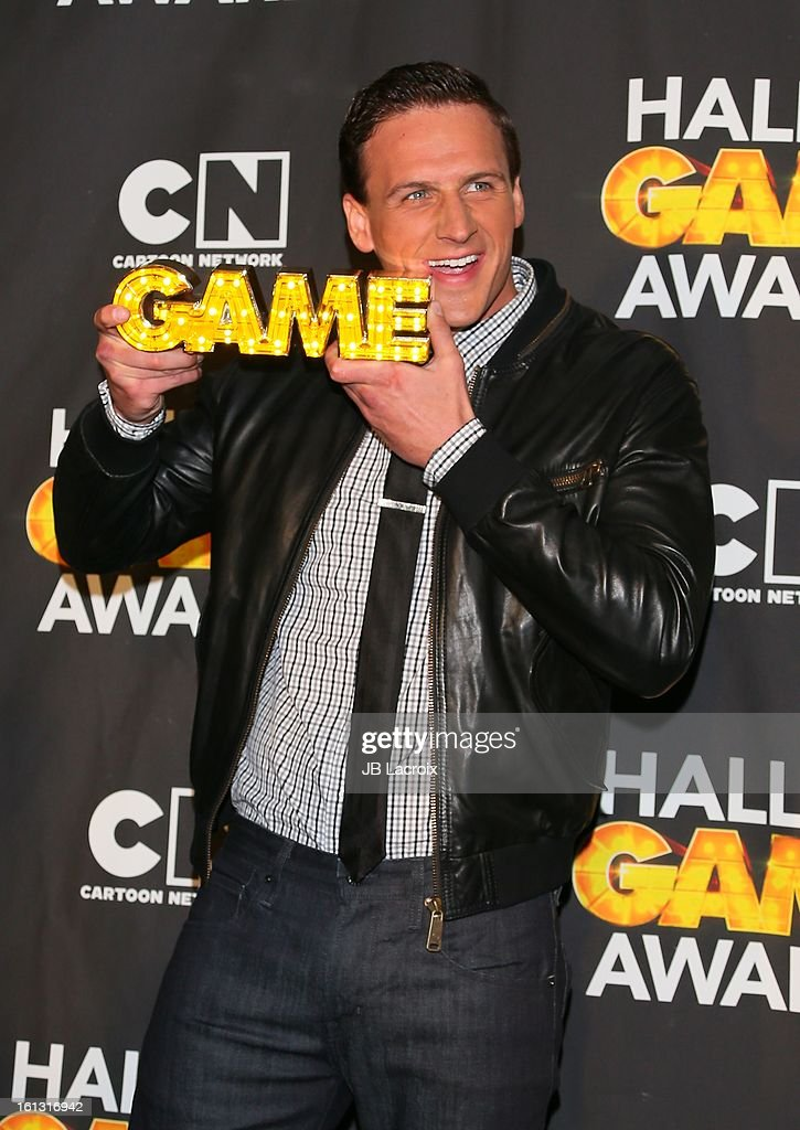 <a gi-track='captionPersonalityLinkClicked' href=/galleries/search?phrase=Ryan+Lochte&family=editorial&specificpeople=182557 ng-click='$event.stopPropagation()'>Ryan Lochte</a> attends the Cartoon Network 3rd Annual Hall of Game Awards at Barker Hangar on February 9, 2013 in Santa Monica, California.