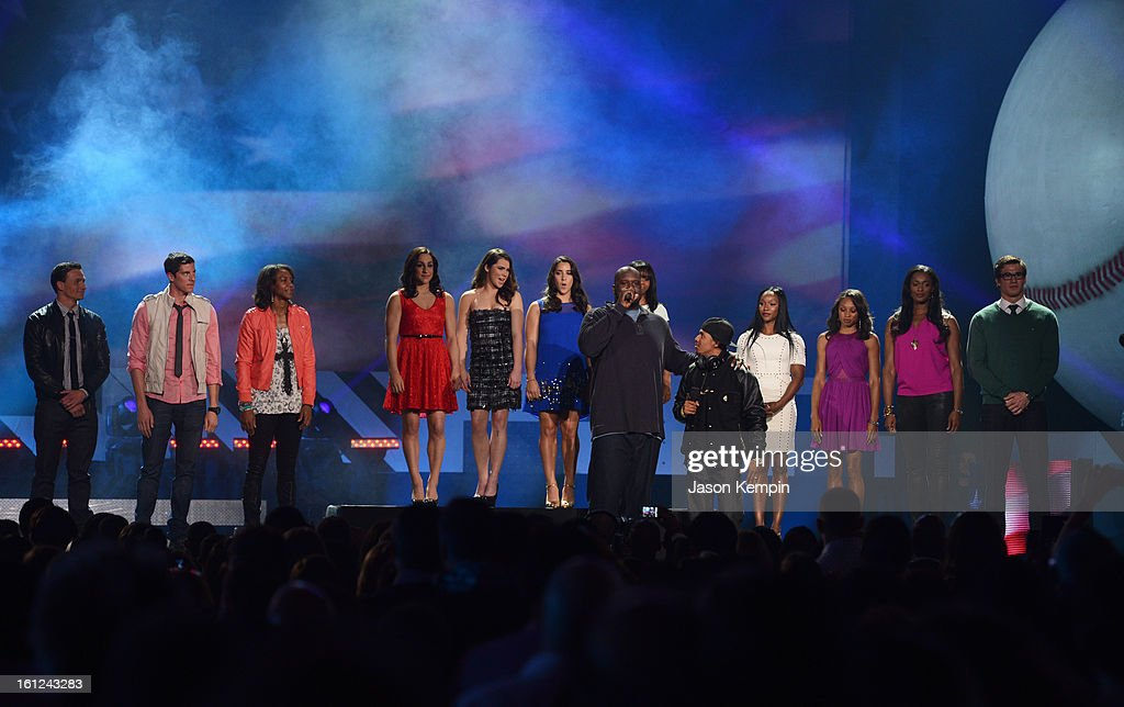 Ryan Lochte, Conor Dwyer, Tamika Catchings, Jordyn Wieber, McKayla Maroney, Aly Raisman, host Shaquille O'Neal, co-host Nick Cannon, Carmelita Jeter, Allyson Felix, Swin Cash and Nathan Adrian stand onstage at the Third Annual Hall of Game Awards hosted by Cartoon Network at Barker Hangar on February 9, 2013 in Santa Monica, California. 23270_003_JK_0983.JPG