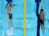 Ryan Lochte of the United States and Ryosuke Irie of Japan compete in the first semifinal heat of the Men's 200m Backstroke on Day 5 of the London...