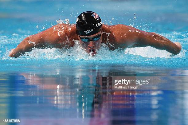 Ryan Lochte of the United States competes to win the gold medal in the Men's 200m Individual Medley Final on day thirteen of the 16th FINA World...
