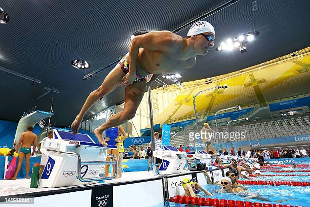 ryan lochte of the united states dives off of the starting block during a training session - Olympic Swimming Starting Blocks