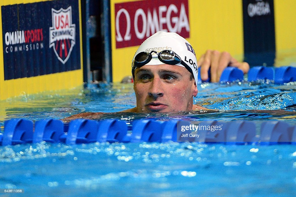 <a gi-track='captionPersonalityLinkClicked' href=/galleries/search?phrase=Ryan+Lochte&family=editorial&specificpeople=182557 ng-click='$event.stopPropagation()'>Ryan Lochte</a> of the United States reacts after competing in a preliminary heat of the Men's 100 meter freestyle during Day 4 of the 2016 U.S. Olympic Team Swimming Trials at CenturyLink Center on June 29, 2016 in Omaha, Nebraska.