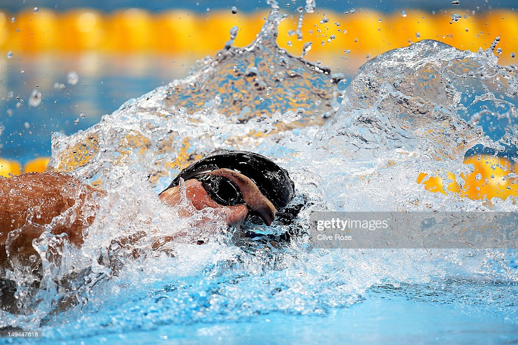Ryan Lochte of the United States reacts competes in the Final of the Men's 400m Individual Medley on Day 1 of the London 2012 Olympic Games at the Aquatics Centre on July 28, 2012 in London, England.
