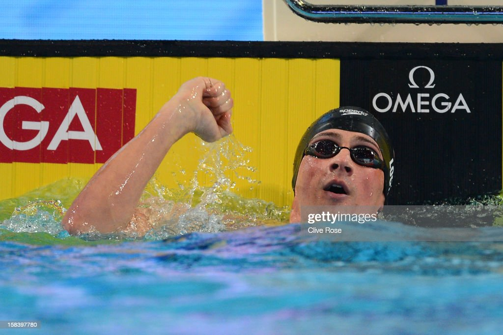 Ryan Lochte of USA celebrates after breaking a new world record in the Men's 100m Individual Medley semi final during day four of the 11th FINA Short Course World Championships at the Sinan Erdem Dome on December 15, 2012 in Istanbul, Turkey.