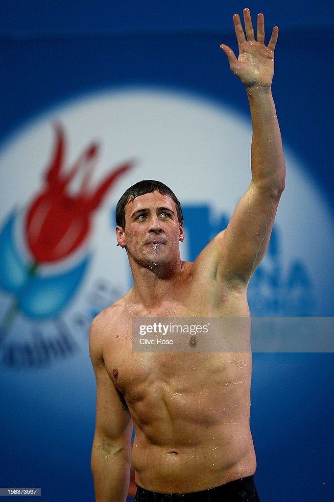 <a gi-track='captionPersonalityLinkClicked' href=/galleries/search?phrase=Ryan+Lochte&family=editorial&specificpeople=182557 ng-click='$event.stopPropagation()'>Ryan Lochte</a> of USA celebrates after winning the Men's 200m Individual Medley Final during day three of the 11th FINA Short Course World Championships at the Sinan Erdem Dome on December 14, 2012 in Istanbul, Turkey.