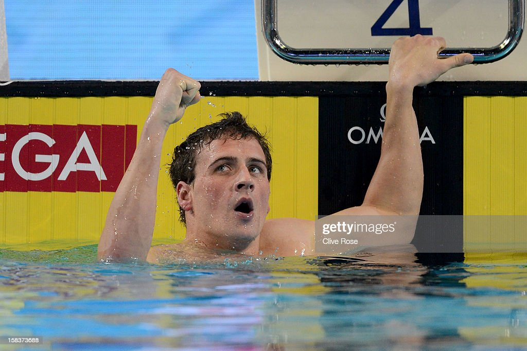 Ryan Lochte of USA celebrates after winning the Men's 200m Individual Medley Final during day three of the 11th FINA Short Course World Championships at the Sinan Erdem Dome on December 14, 2012 in Istanbul, Turkey.