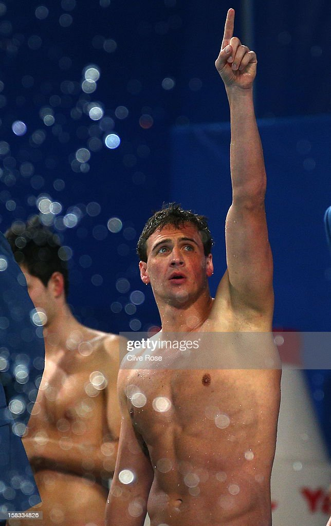 Ryan Lochte of USA celebrates after winning the Men's 4x200m Freestyle Final during day two of the 11th FINA Short Course World Championships at the Sinan Erdem Dome on December 13, 2012 in Istanbul, Turkey.