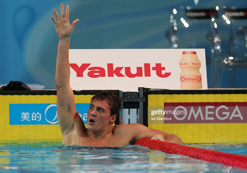 Ryan Lochte of USA celebrates gold and a world record in the Men's 200IM final during day three of the FINA World Short Course Swimming Championships on December 14, 2012 in Istanbul, Turkey.