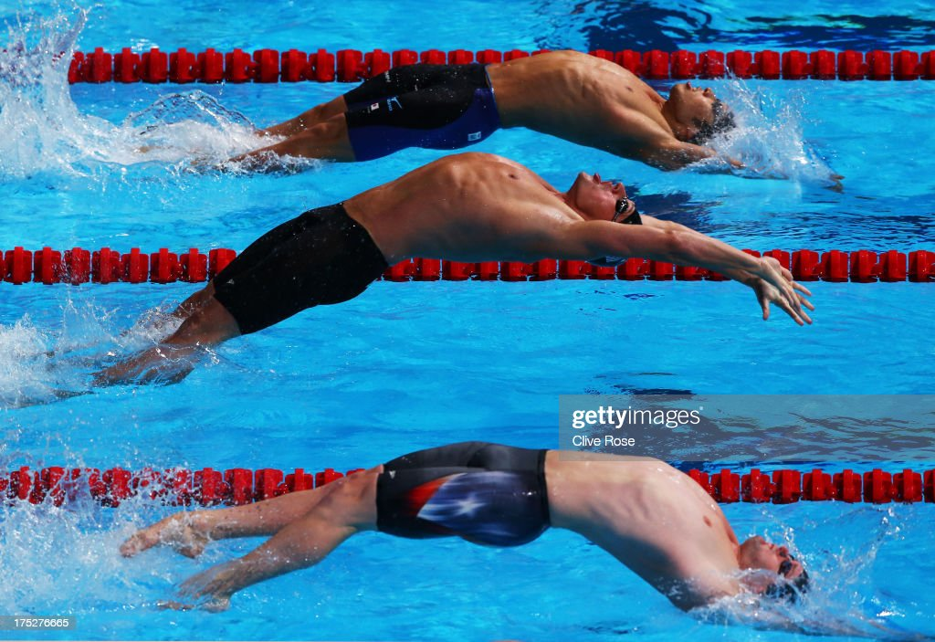 <a gi-track='captionPersonalityLinkClicked' href=/galleries/search?phrase=Ryan+Lochte&family=editorial&specificpeople=182557 ng-click='$event.stopPropagation()'>Ryan Lochte</a> (C) of USA competes during the Swimming Men's 200m Backstroke semi final 2on day thirteen of the 15th FINA World Championships at Palau Sant Jordi on August 1, 2013 in Barcelona, Spain.