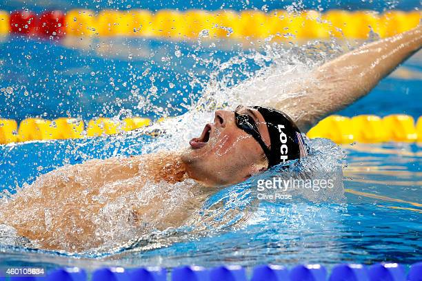 Ryan Lochte of USA competes in the Men's 200m Backstroke Final on day five of the 12th FINA World Swimming Championships at the Hamad Aquatic Centre...