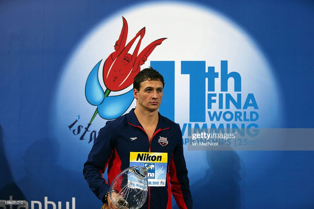 Ryan Lochte of USA with the trophy for the most successful male swimmer over the Championships during day five of the 11th FINA Short Course World Championships at the Sinan Erdem Dome on December 16, 2012 in Istanbul, Turkey.