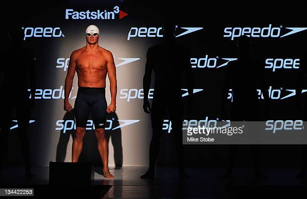 Ryan Lochte poses for a photo during a press conference to debut the new Speedo FASTSKIN 3 at Skylight Studios on November 30 2011 in New York City