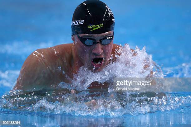 Ryan Lochte swims in the Men's 100 meter breaststroke during the Arena Pro Swim Series at Austin on January 17 2016 in Austin Texas