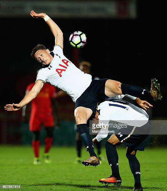 Ryan Loft and Marcus Edwards of Tottenham collide with each other during the Premier League 2 match between Tottenham Hotspur and Liverpool at The...